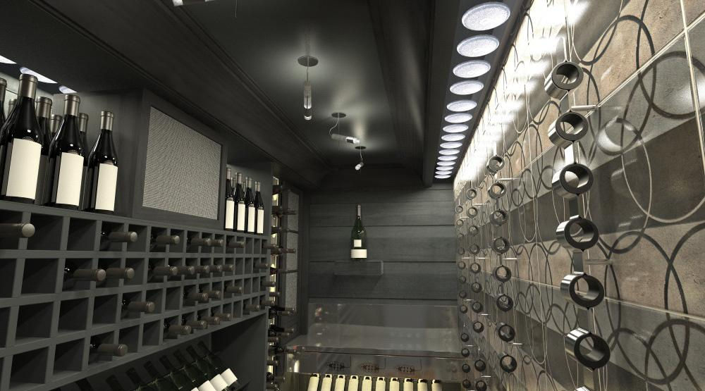 Architectural rendering of home wine cellar 3D design model