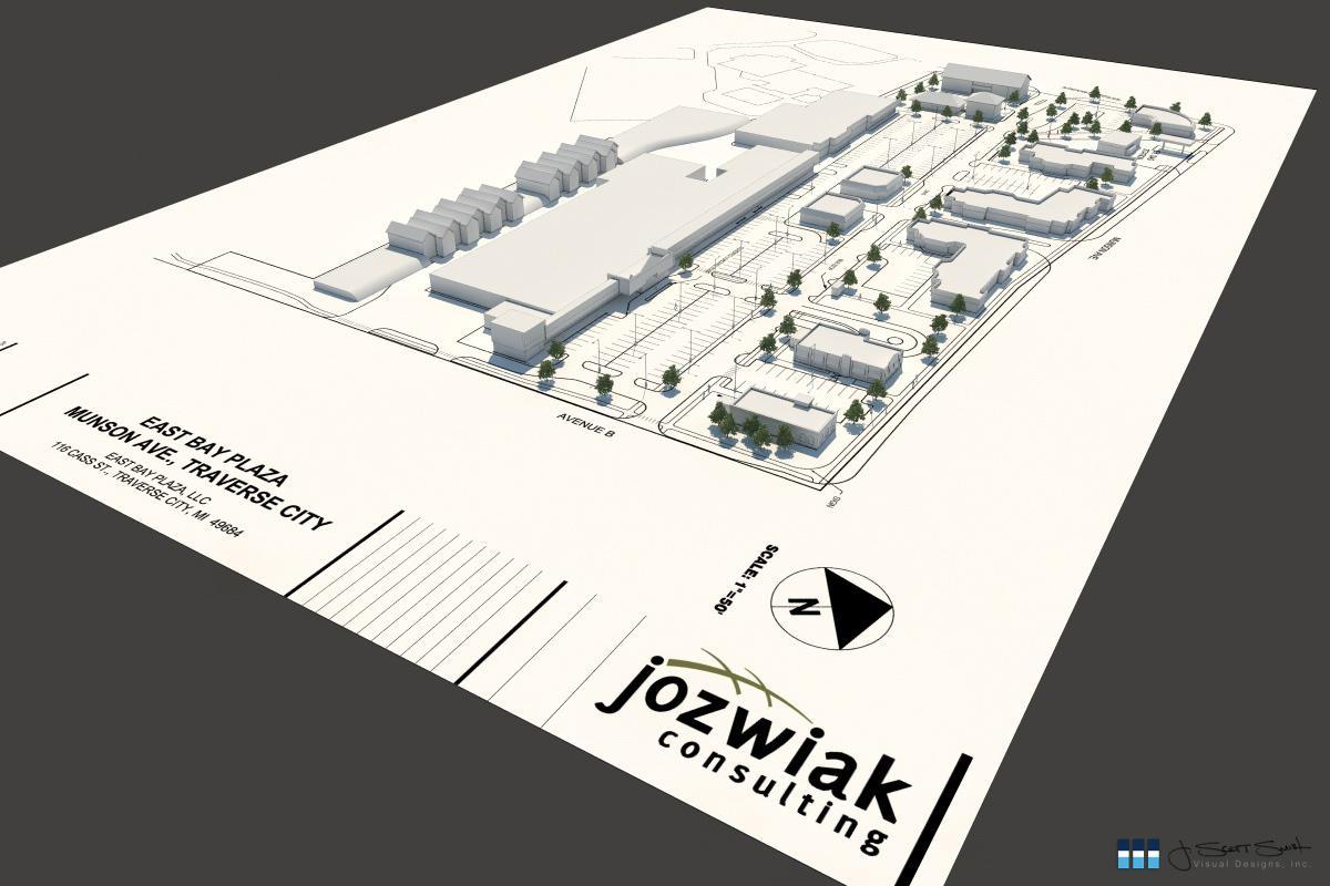 Architectural rendering of plaza building 3D design model