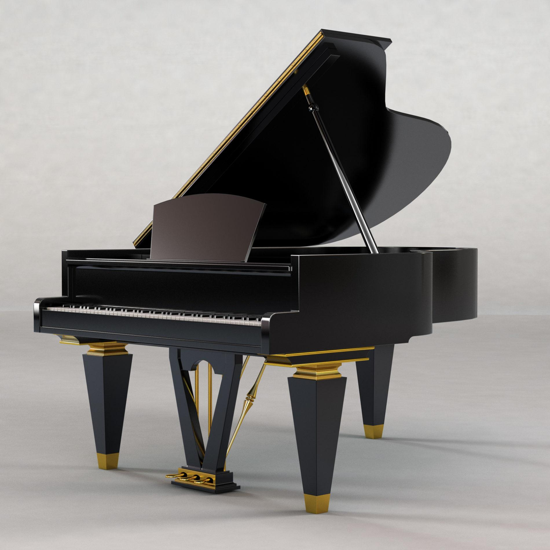 Architectural rendering of piano 3D design model