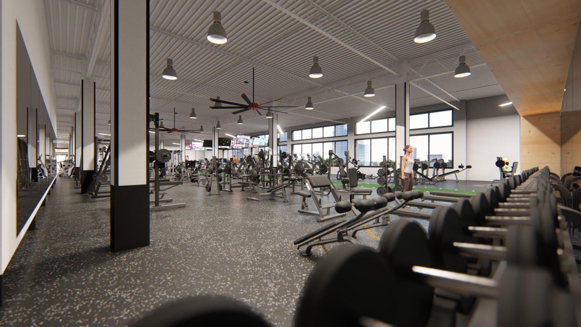 Architectural rendering of gym 3D design model
