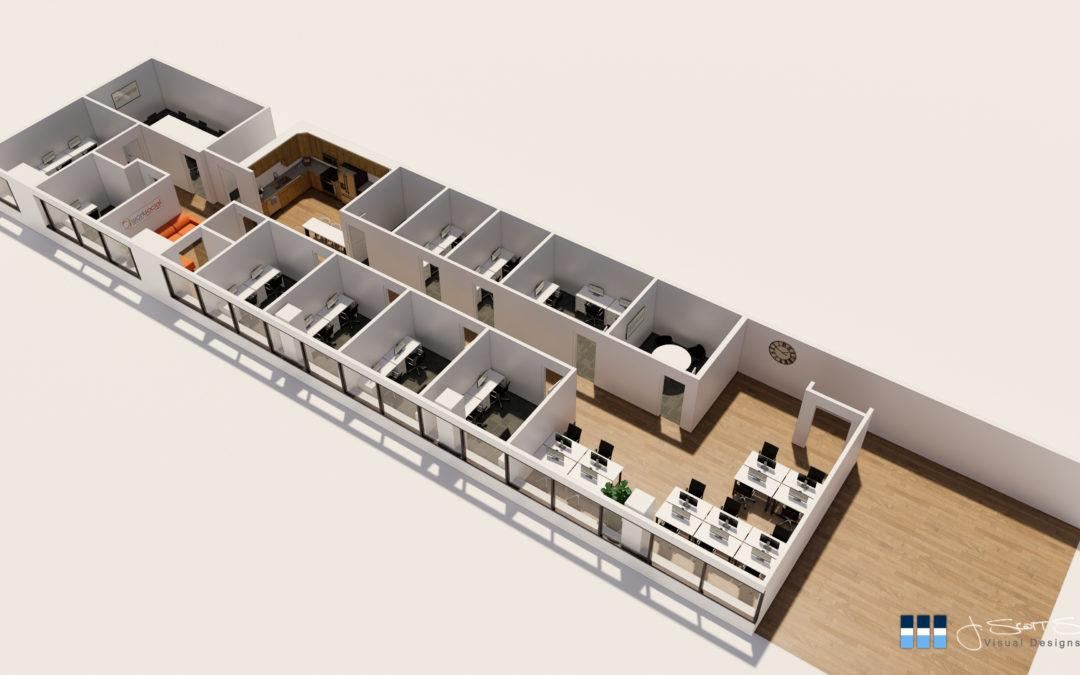 Architectural Renderings: Bird's-eye Office