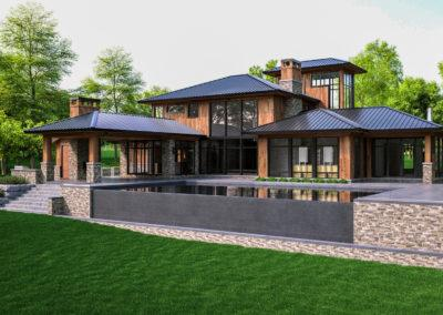 architectural 3D rendering house exterior modern