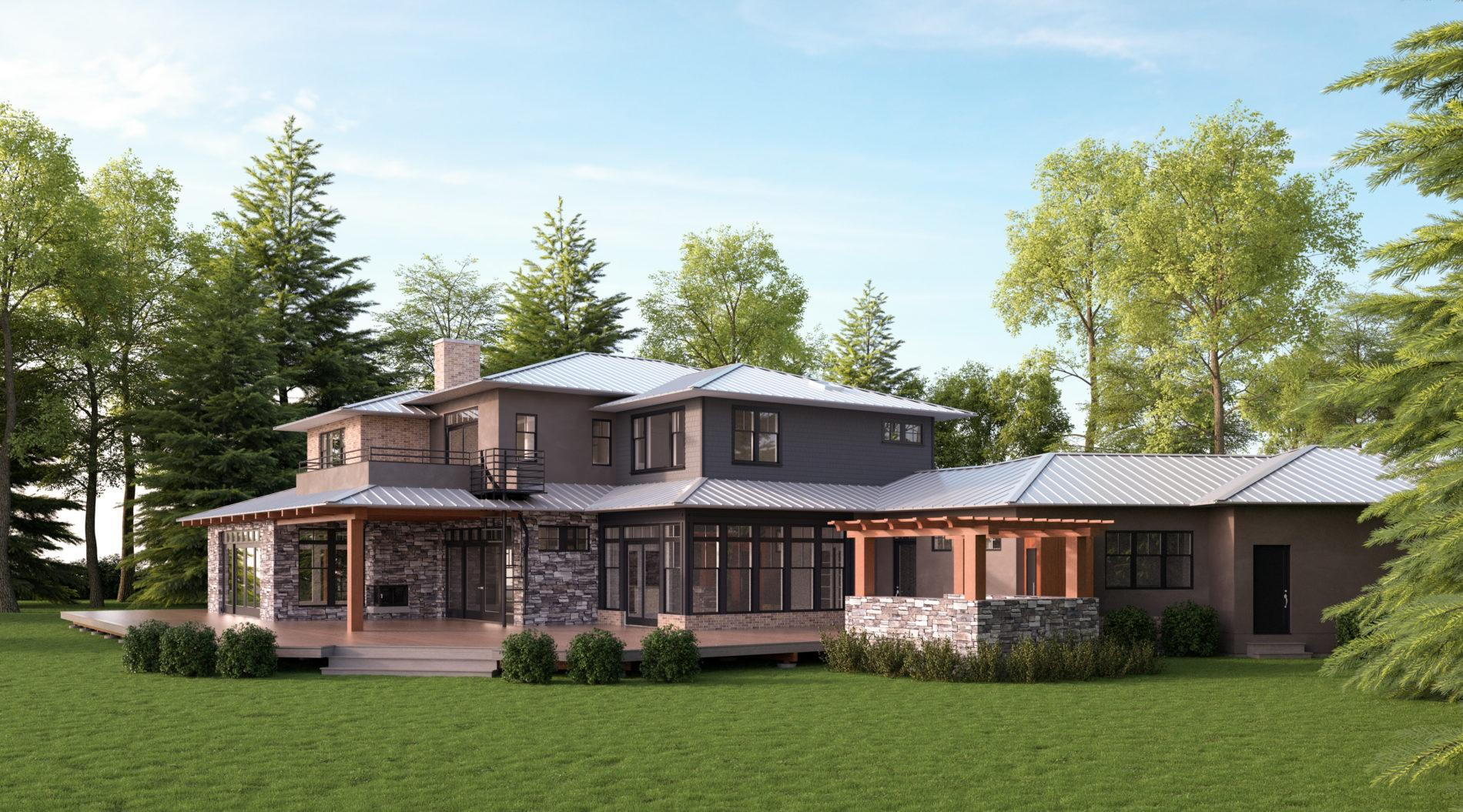 Architectural 3D rendering residential exterior