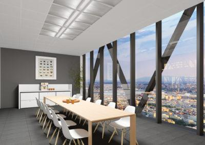 Architectural 3D rendering office building meeting room