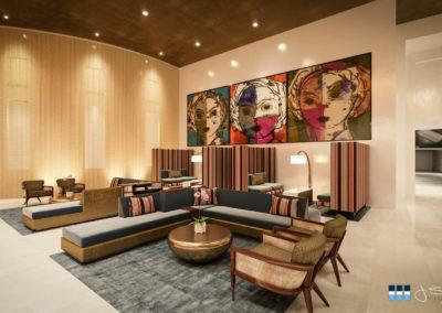 Architectural 3D rendering hotel lobby seating