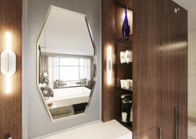 Architectural 3D rendering hotel guest room mirror