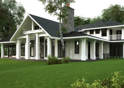 architectural 3d rendering residential exterior white