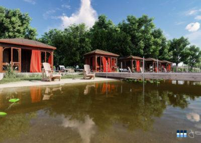 architectural 3d rendering rv resort cabanas
