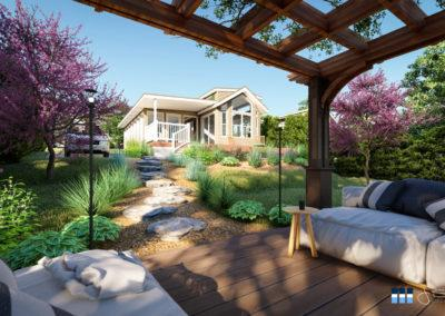 architectural 3d rendering rv resort pergola