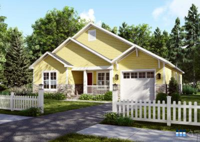 architectural 3d rendering residential exterior yellow