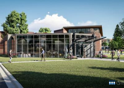 architectural 3d rendering college campus building