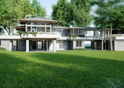 architectural 3D rendering house exterior gray