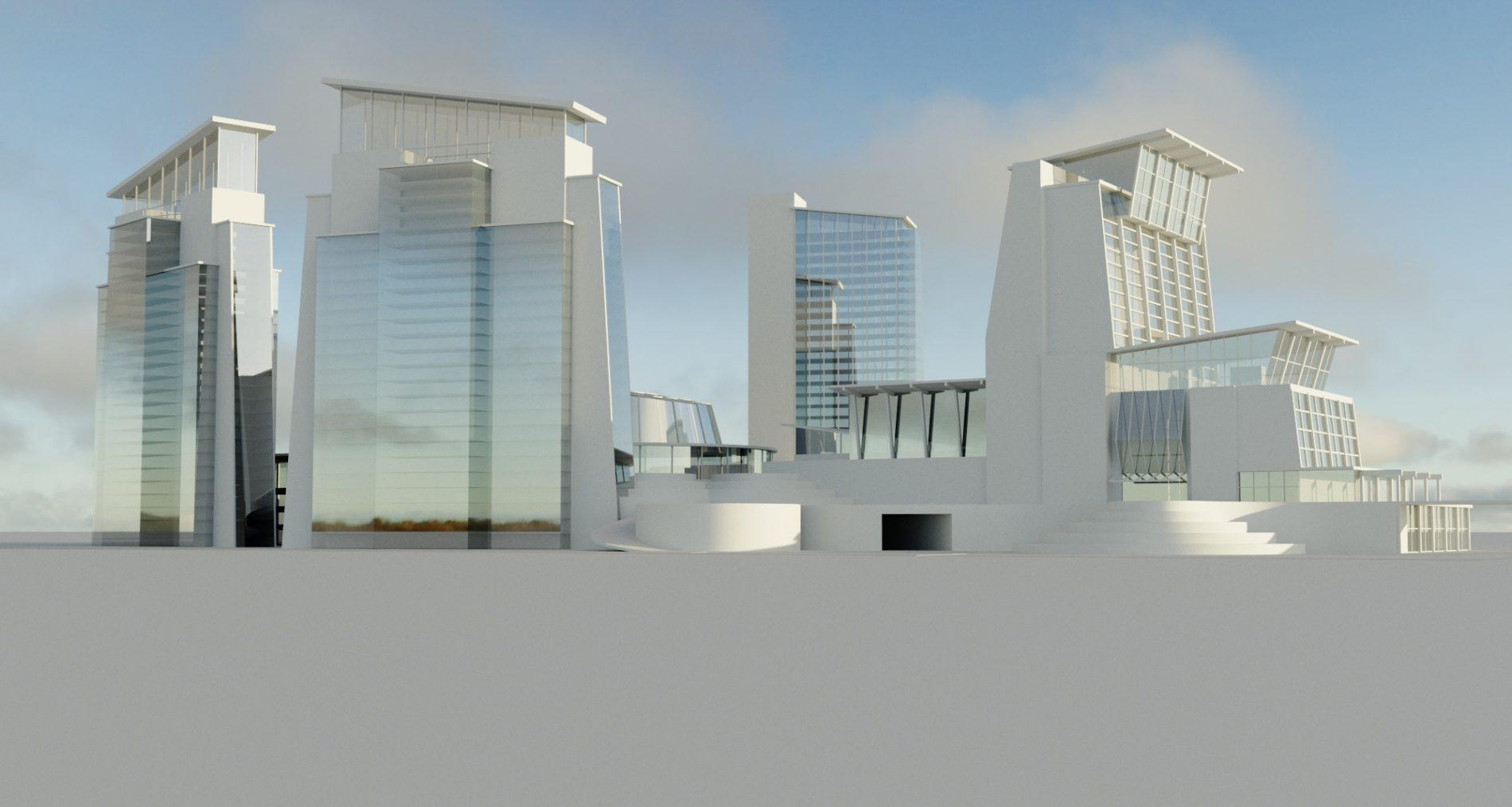 architectural 3D clay rendering resort skyscrapers