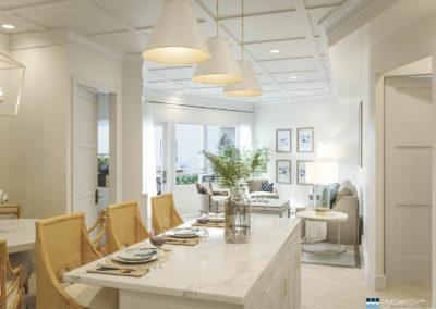 architectural 3D rendering house interior open space dining