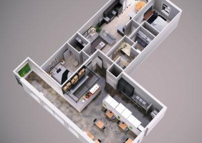 Architectural 3d rendering live work space floorplan view