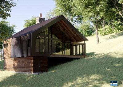 Architectural 3d rendering modern house exterior