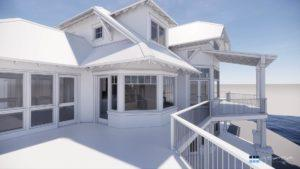 architectural 3d clay rendering residential exterior deck