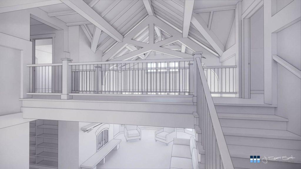architectural 3d clay rendering residential stairway